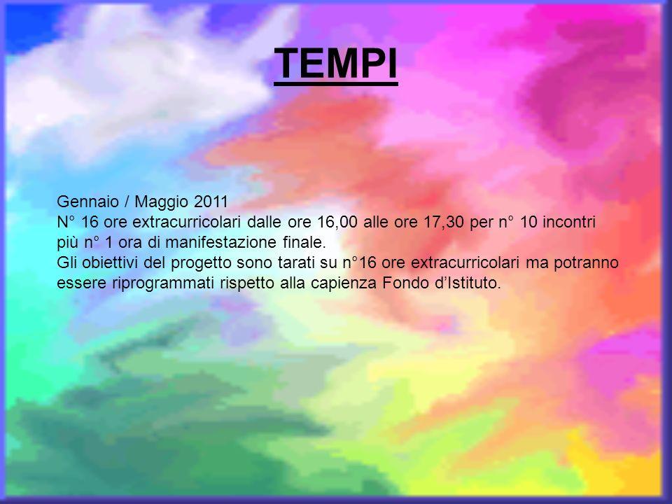TEMPI Gennaio / Maggio 2011 N° 16 ore extracurricolari dalle ore 16,00 alle ore 17,30 per n° 10 incontri più n° 1 ora di manifestazione finale. Gli ob