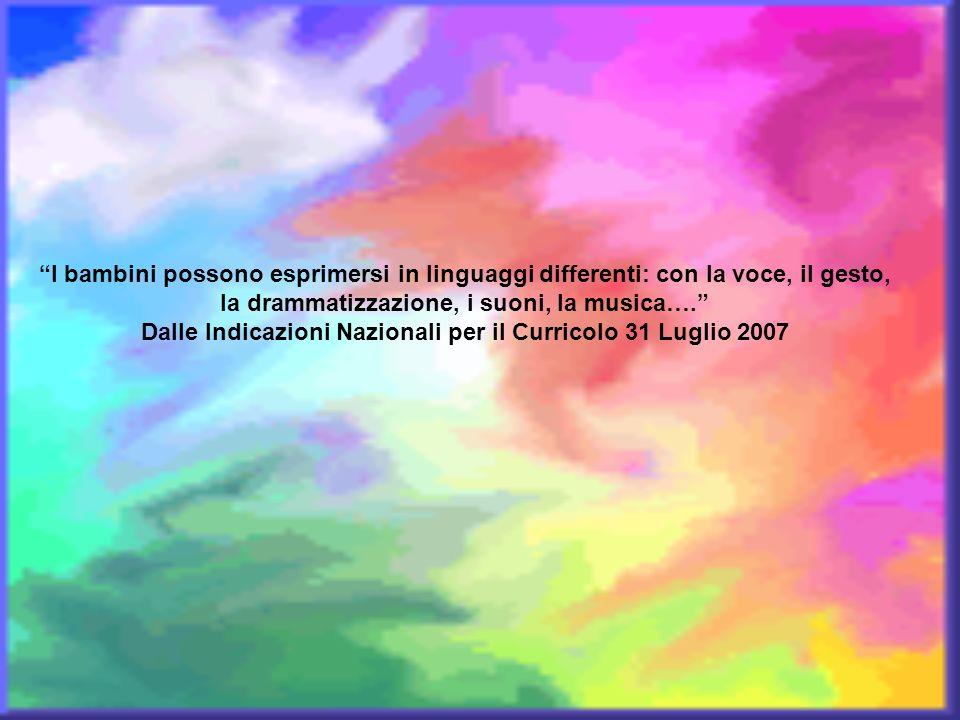 I bambini possono esprimersi in linguaggi differenti: con la voce, il gesto, la drammatizzazione, i suoni, la musica…. Dalle Indicazioni Nazionali per