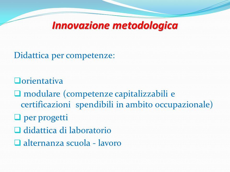 Innovazione metodologica Didattica per competenze: orientativa modulare (competenze capitalizzabili e certificazioni spendibili in ambito occupazional