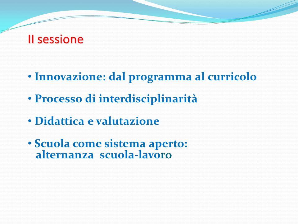 II sessione Innovazione: dal programma al curricolo Processo di interdisciplinarità Didattica e valutazione Scuola come sistema aperto: alternanza scu