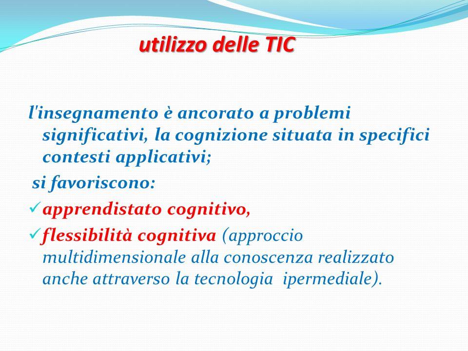 utilizzo delle TIC l'insegnamento è ancorato a problemi significativi, la cognizione situata in specifici contesti applicativi; si favoriscono: appren