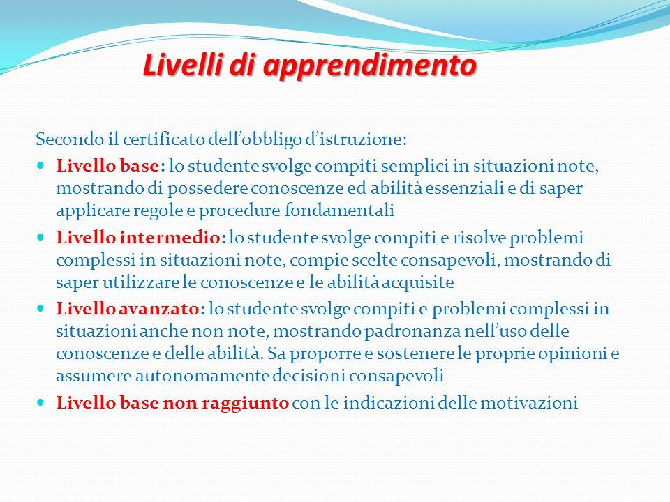 Livelli di apprendimento Secondo il certificato dellobbligo distruzione: Livello base: lo studente svolge compiti semplici in situazioni note, mostran