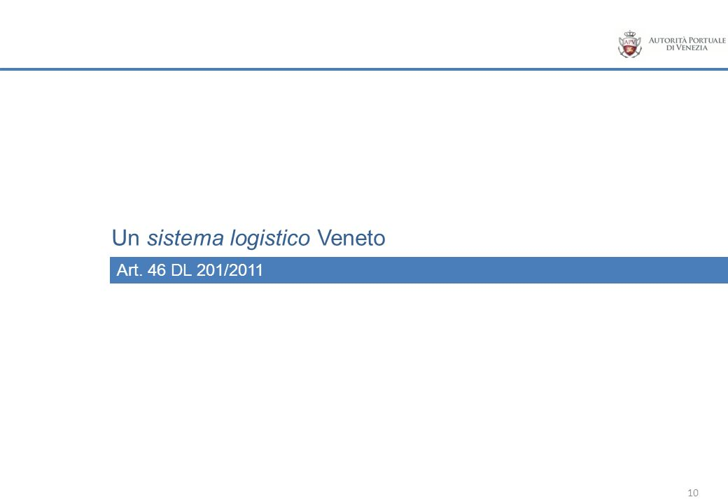 10 Art. 46 DL 201/2011 Un sistema logistico Veneto
