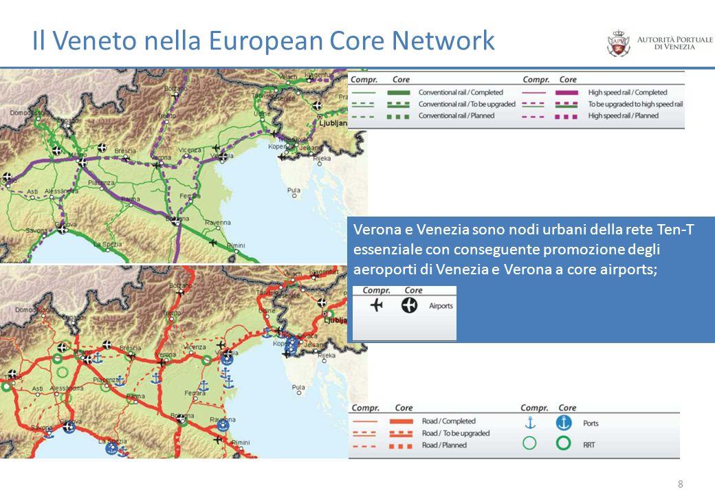 Verona e Venezia sono nodi urbani della rete Ten-T essenziale con conseguente promozione degli aeroporti di Venezia e Verona a core airports; 8
