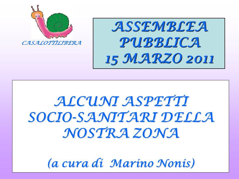 CASALOTTILIBERA ALCUNI ASPETTI SOCIO-SANITARI DELLA NOSTRA ZONA (a cura di Marino Nonis) ASSEMBLEAPUBBLICA 15 MARZO 2011