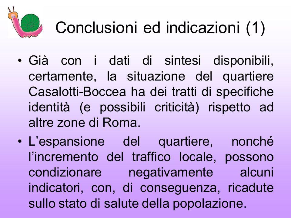 Conclusioni ed indicazioni (1) Già con i dati di sintesi disponibili, certamente, la situazione del quartiere Casalotti-Boccea ha dei tratti di specifiche identità (e possibili criticità) rispetto ad altre zone di Roma.