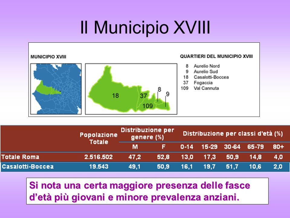 Il Municipio XVIII Si nota una certa maggiore presenza delle fasce detà più giovani e minore prevalenza anziani.