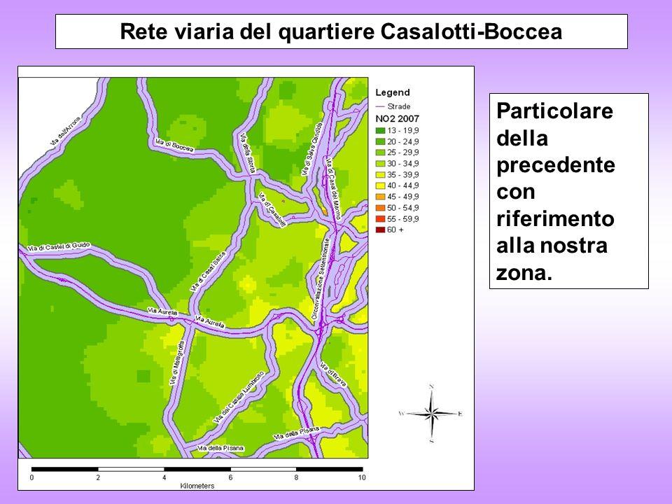 Distribuzione popolazione della zona Casalotti-Boccea e concentrazioni NO 2 La cartina incrocia i dati di popolazione residente con quelli del traffico, evidenziando il possibile impatto sulla salute.