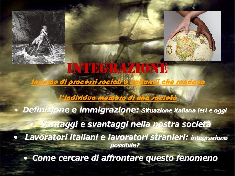 INTEGRAZIONE Insieme di processi sociali e culturali che rendono lindividuo membro di una società Definizione e immigrazione: Situazione italiana ieri