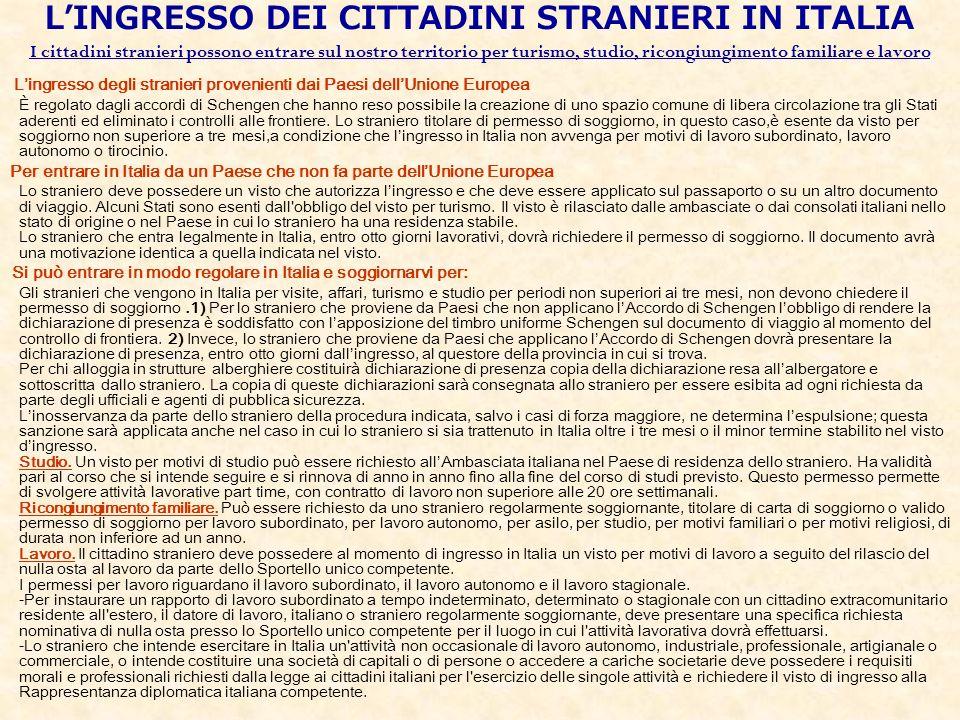 LINGRESSO DEI CITTADINI STRANIERI IN ITALIA I cittadini stranieri possono entrare sul nostro territorio per turismo, studio, ricongiungimento familiar