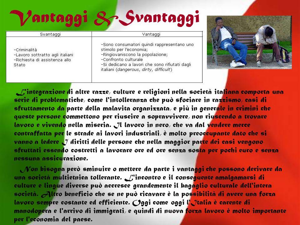 Vantaggi &Svantaggi L'integrazione di altre razze, culture e religioni nella società italiana comporta una serie di problematiche, come l'intolleranza