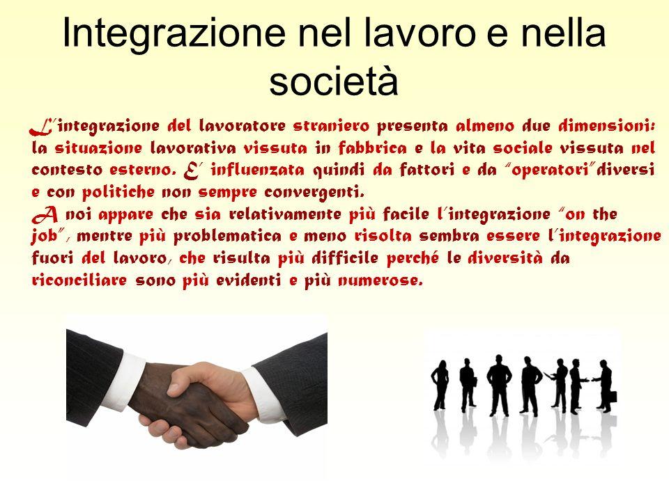 Integrazione nel lavoro e nella società Lintegrazione del lavoratore straniero presenta almeno due dimensioni: la situazione lavorativa vissuta in fab