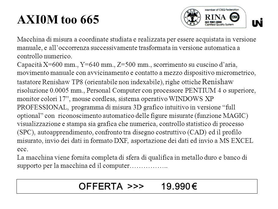 AXI0M too 665 Macchina di misura a coordinate studiata e realizzata per essere acquistata in versione manuale, e alloccorrenza successivamente trasformata in versione automatica a controllo numerico.