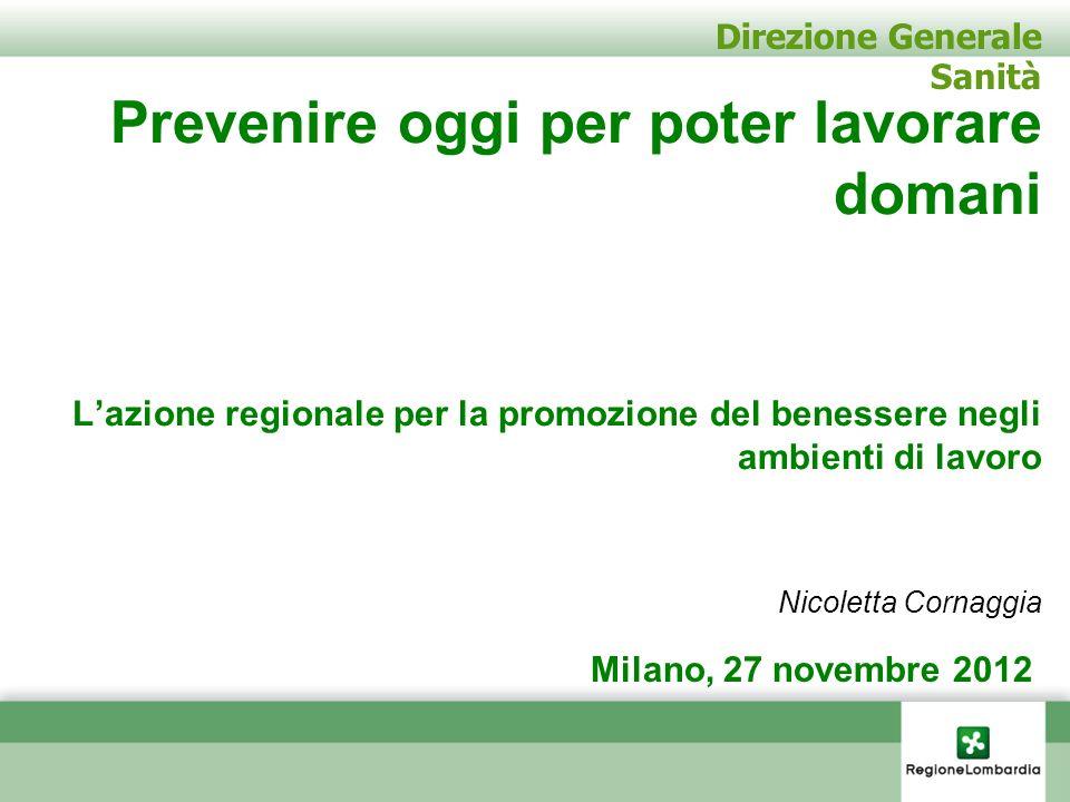 Direzione Generale Sanità Prevenire oggi per poter lavorare domani Lazione regionale per la promozione del benessere negli ambienti di lavoro Nicolett