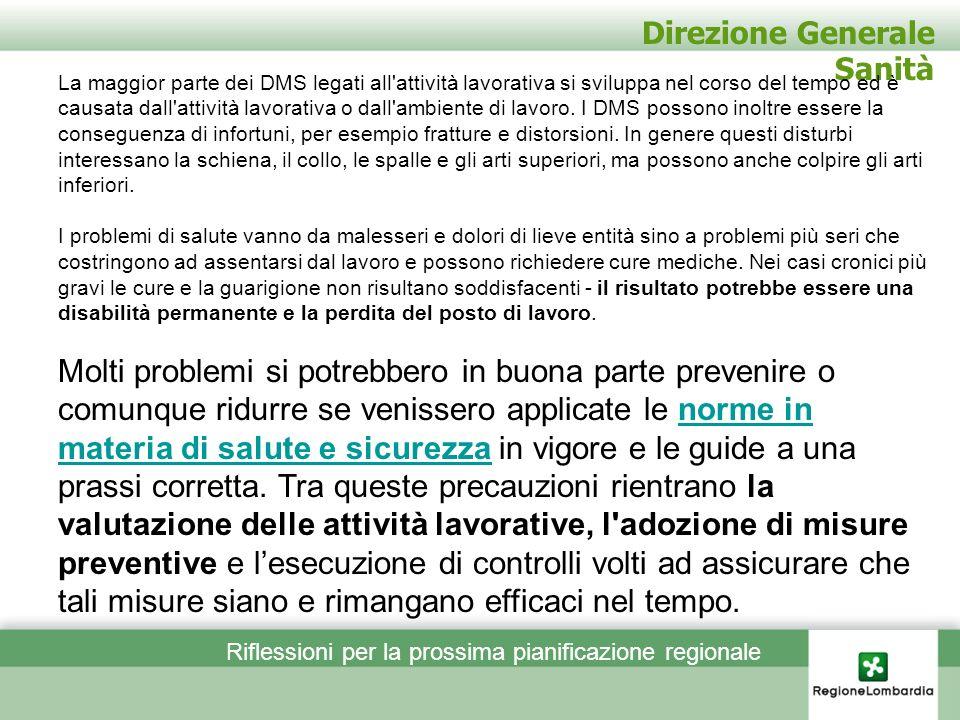 Direzione Generale Sanità La maggior parte dei DMS legati all'attività lavorativa si sviluppa nel corso del tempo ed è causata dall'attività lavorativ