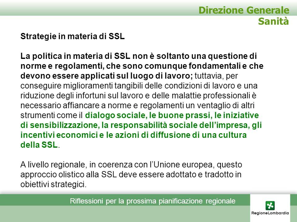 Direzione Generale Sanità Strategie in materia di SSL La politica in materia di SSL non è soltanto una questione di norme e regolamenti, che sono comu