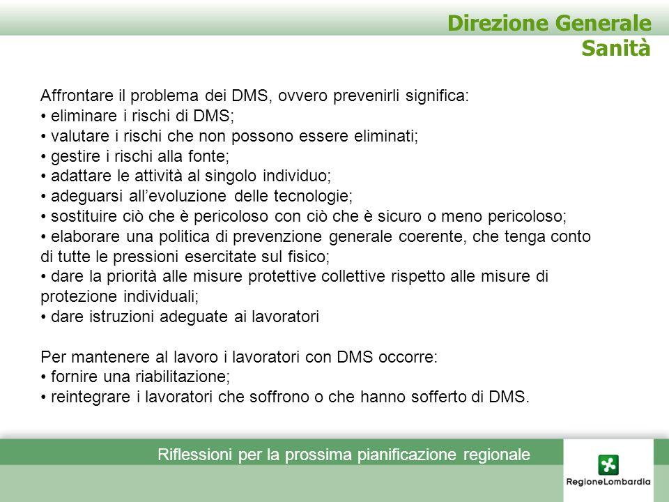 Direzione Generale Sanità Affrontare il problema dei DMS, ovvero prevenirli significa: eliminare i rischi di DMS; valutare i rischi che non possono es