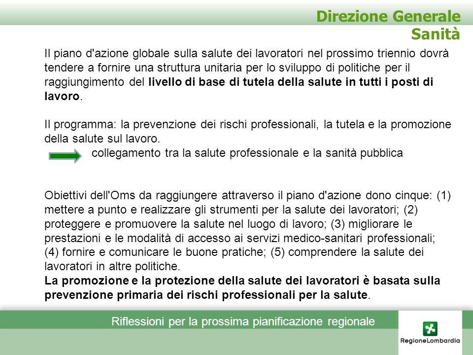 Direzione Generale Sanità Il piano d'azione globale sulla salute dei lavoratori nel prossimo triennio dovrà tendere a fornire una struttura unitaria p