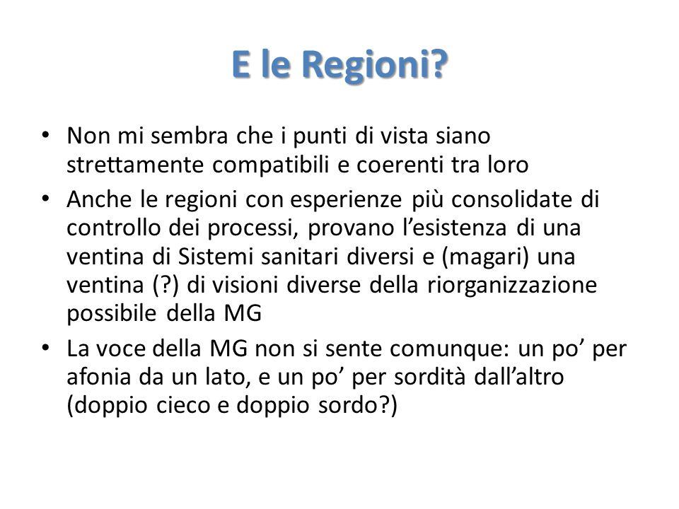 E le Regioni? Non mi sembra che i punti di vista siano strettamente compatibili e coerenti tra loro Anche le regioni con esperienze più consolidate di