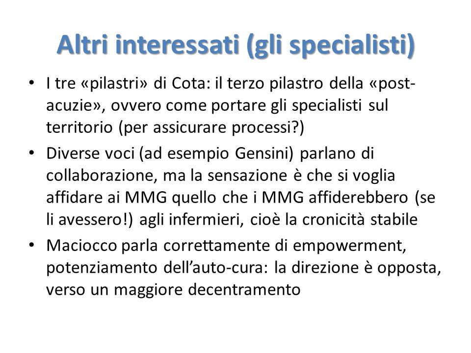 Altri interessati (gli specialisti) I tre «pilastri» di Cota: il terzo pilastro della «post- acuzie», ovvero come portare gli specialisti sul territor