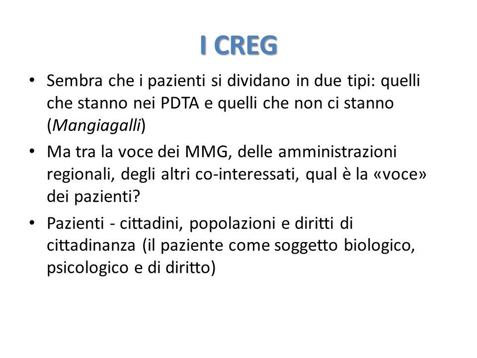 I CREG Sembra che i pazienti si dividano in due tipi: quelli che stanno nei PDTA e quelli che non ci stanno (Mangiagalli) Ma tra la voce dei MMG, delle amministrazioni regionali, degli altri co-interessati, qual è la «voce» dei pazienti.
