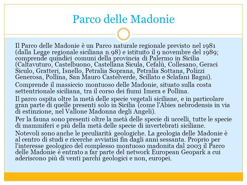 Parco delle Madonie Il Parco delle Madonie è un Parco naturale regionale previsto nel 1981 (dalla Legge regionale siciliana n.98) e istituito il 9 nov