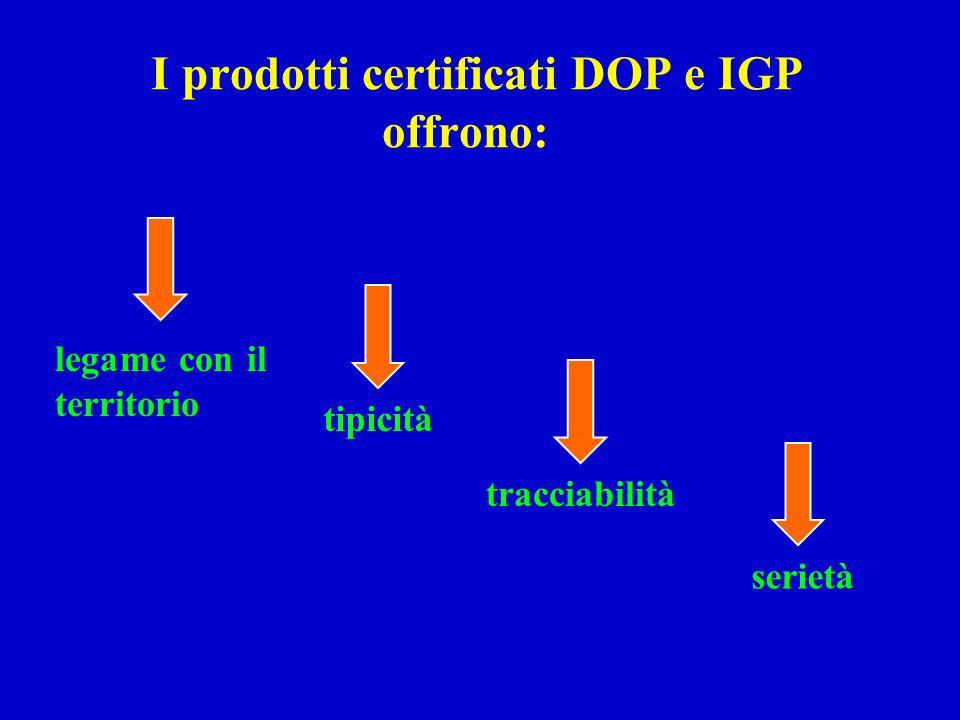I prodotti certificati DOP e IGP offrono: tracciabilità serietà tipicità legame con il territorio