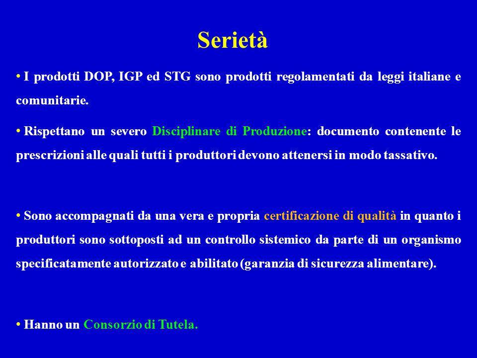 I prodotti DOP, IGP ed STG sono prodotti regolamentati da leggi italiane e comunitarie. Rispettano un severo Disciplinare di Produzione: documento con