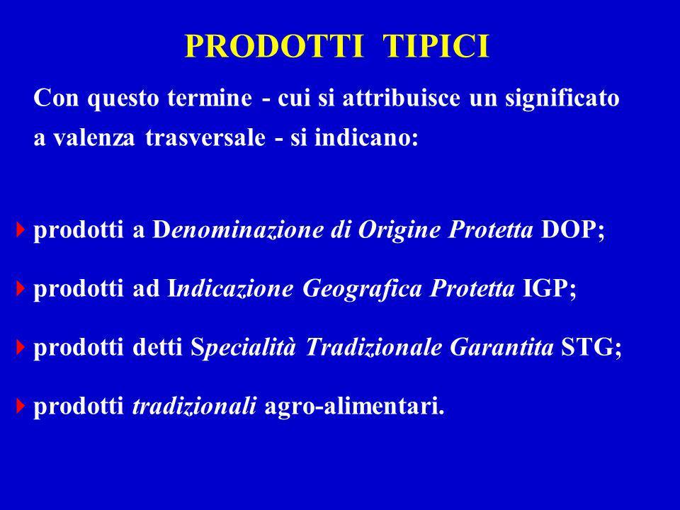 PRODOTTI TIPICI Con questo termine - cui si attribuisce un significato a valenza trasversale - si indicano: prodotti a Denominazione di Origine Protet
