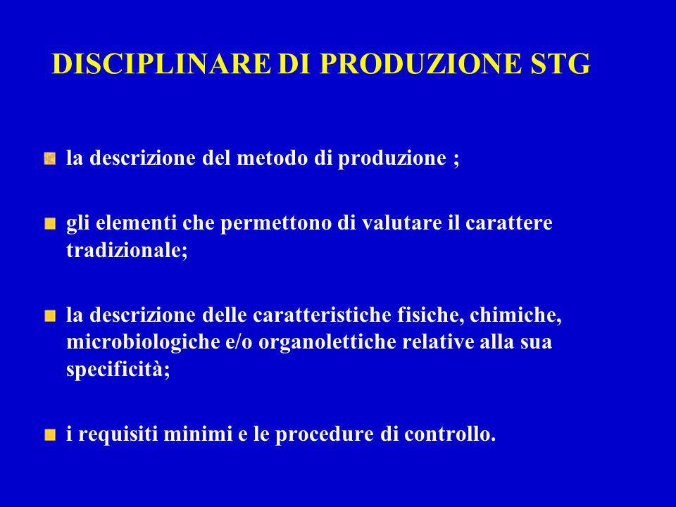 DISCIPLINARE DI PRODUZIONE STG la descrizione del metodo di produzione ; gli elementi che permettono di valutare il carattere tradizionale; la descriz