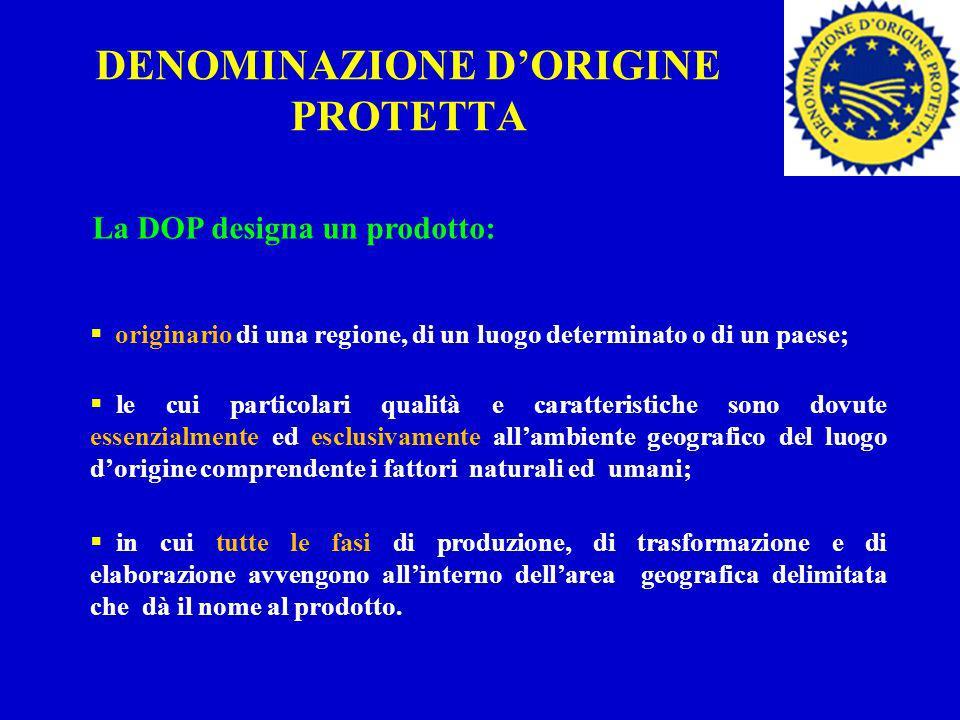 DENOMINAZIONE DORIGINE PROTETTA La DOP designa un prodotto: originario di una regione, di un luogo determinato o di un paese; le cui particolari quali