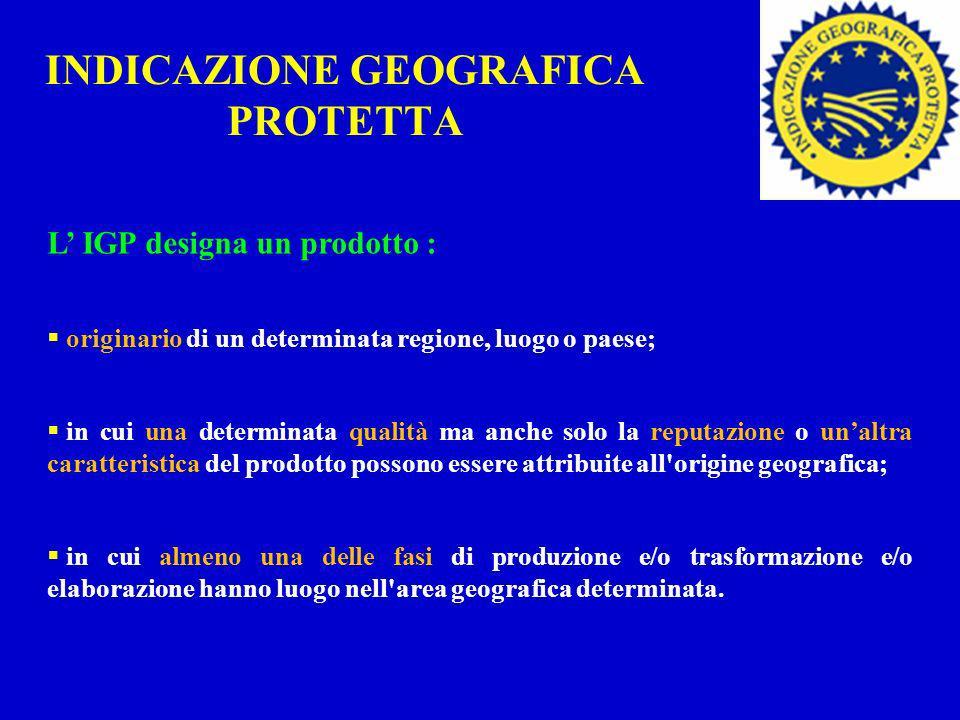 INDICAZIONE GEOGRAFICA PROTETTA L IGP designa un prodotto : originario di un determinata regione, luogo o paese; in cui una determinata qualità ma anc