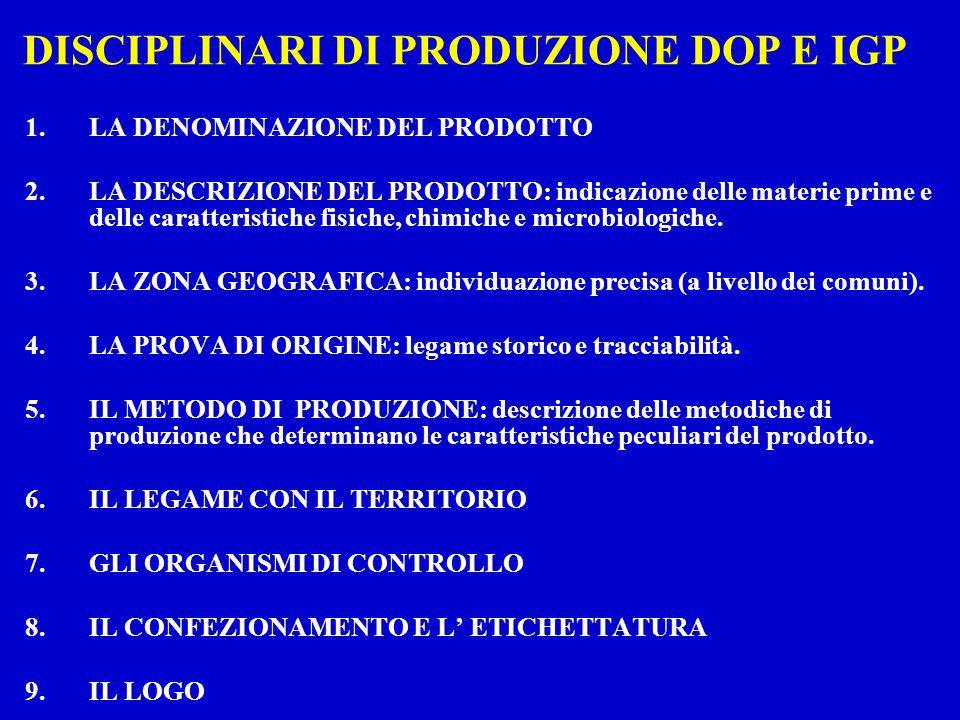 DISCIPLINARI DI PRODUZIONE DOP E IGP 1.LA DENOMINAZIONE DEL PRODOTTO 2.LA DESCRIZIONE DEL PRODOTTO: indicazione delle materie prime e delle caratteris