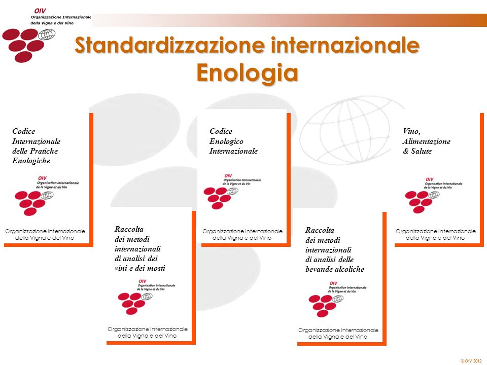 OIV 2012 Standardizzazione internazionale Enologia Codice Enologico Internazionale Organizzazione Internazionale della Vigna e del Vino Raccolta dei m