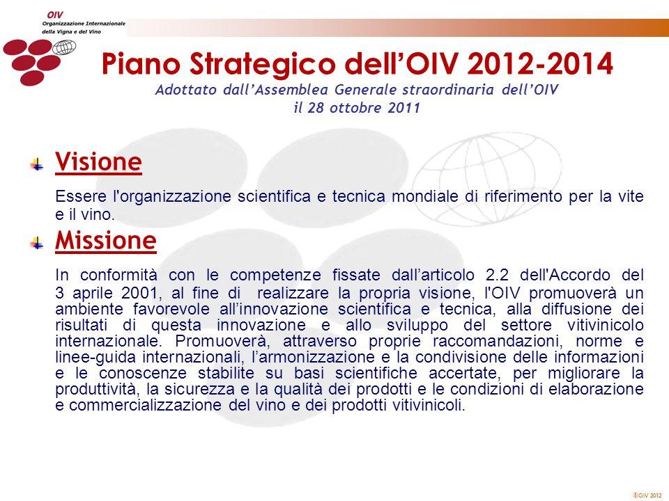 OIV 2012 Piano Strategico dell OIV 2012-2014 Adottato dallAssemblea Generale straordinaria dellOIV il 28 ottobre 2011 Visione Essere l'organizzazione