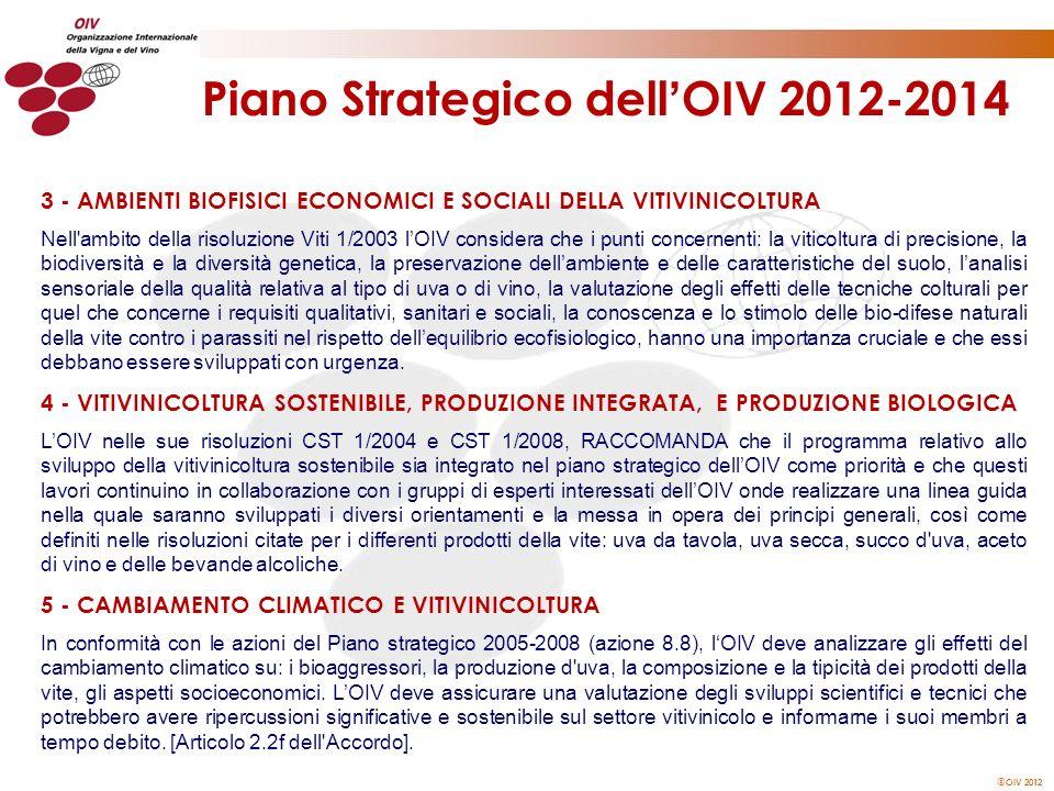 OIV 2012 Piano Strategico dell OIV 2012-2014 3 - AMBIENTI BIOFISICI ECONOMICI E SOCIALI DELLA VITIVINICOLTURA Nell'ambito della risoluzione Viti 1/200