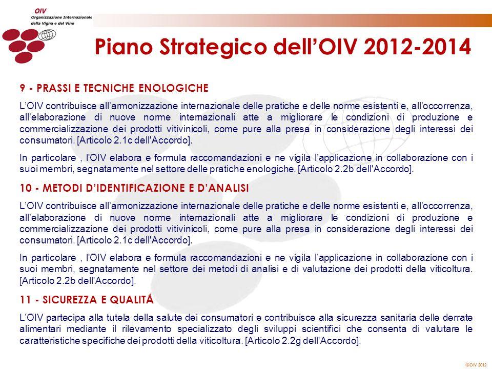 OIV 2012 Piano Strategico dell OIV 2012-2014 9 - PRASSI E TECNICHE ENOLOGICHE LOIV contribuisce allarmonizzazione internazionale delle pratiche e dell