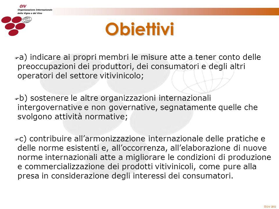 OIV 2012 Obiettivi F a) indicare ai propri membri le misure atte a tener conto delle preoccupazioni dei produttori, dei consumatori e degli altri oper