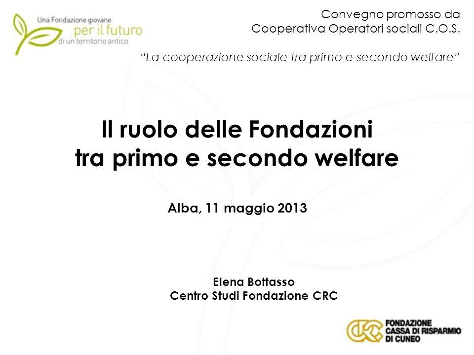 Il ruolo delle Fondazioni tra primo e secondo welfare Alba, 11 maggio 2013 Elena Bottasso Centro Studi Fondazione CRC Convegno promosso da Cooperativa