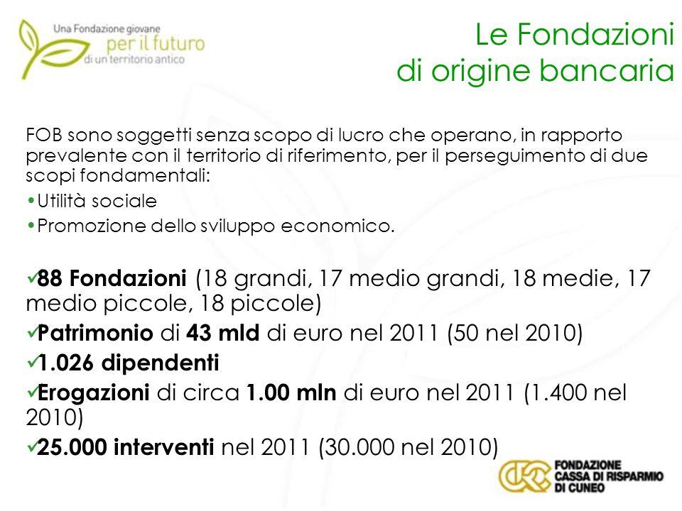 Le Fondazioni di origine bancaria FOB sono soggetti senza scopo di lucro che operano, in rapporto prevalente con il territorio di riferimento, per il