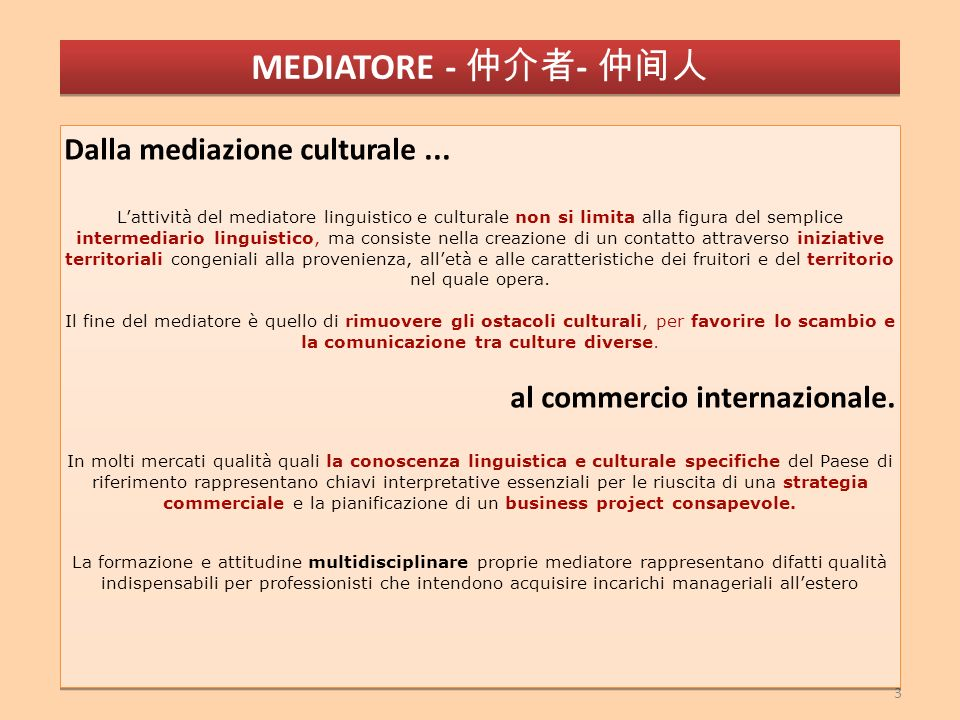 3 Dalla mediazione culturale...