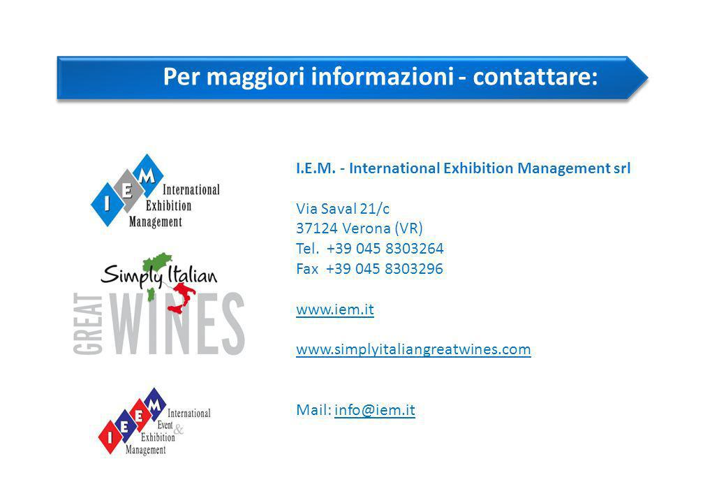 I.E.M. - International Exhibition Management srl Via Saval 21/c 37124 Verona (VR) Tel.