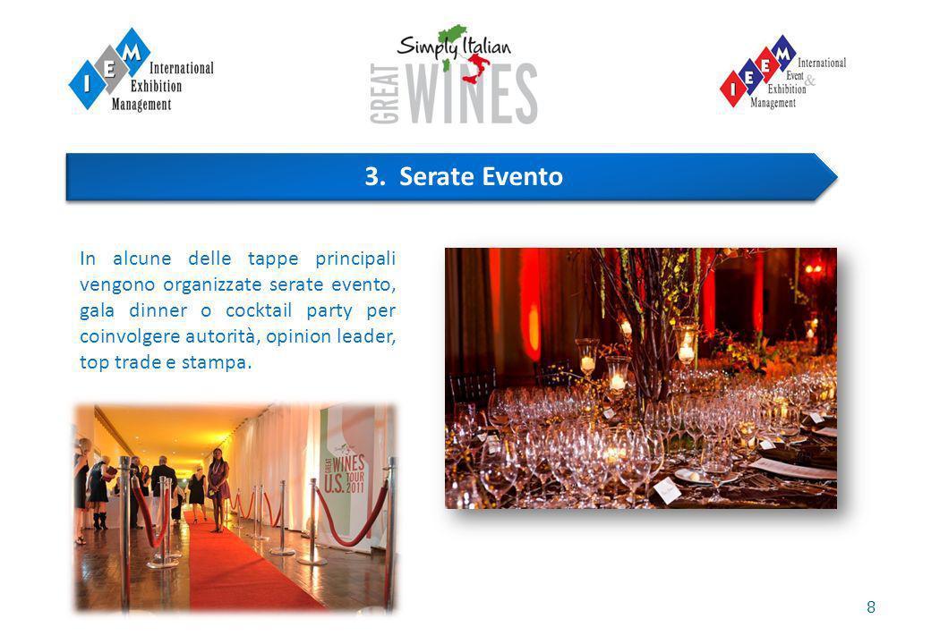 8 In alcune delle tappe principali vengono organizzate serate evento, gala dinner o cocktail party per coinvolgere autorità, opinion leader, top trade