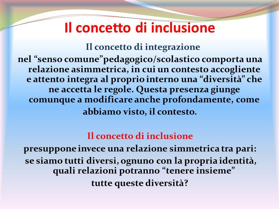 Il concetto di inclusione Il concetto di integrazione nel senso comunepedagogico/scolastico comporta una relazione asimmetrica, in cui un contesto acc