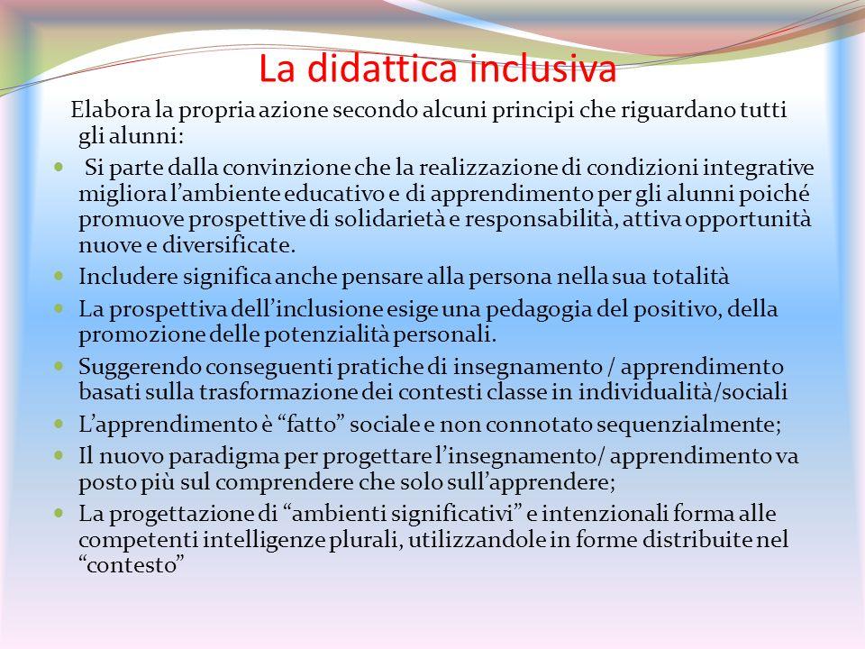 La didattica inclusiva Elabora la propria azione secondo alcuni principi che riguardano tutti gli alunni: Si parte dalla convinzione che la realizzazi