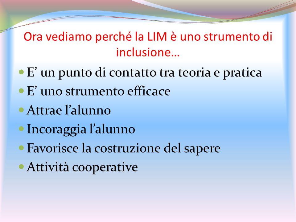 Ora vediamo perché la LIM è uno strumento di inclusione… E un punto di contatto tra teoria e pratica E uno strumento efficace Attrae lalunno Incoraggi