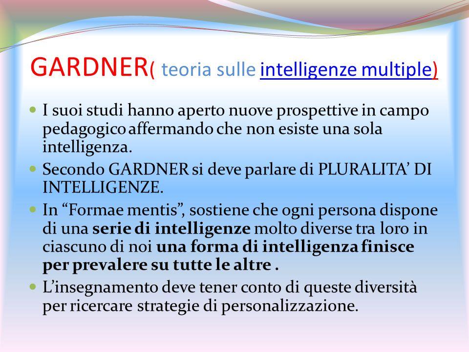 GARDNER ( teoria sulle intelligenze multiple)intelligenze multiple I suoi studi hanno aperto nuove prospettive in campo pedagogico affermando che non