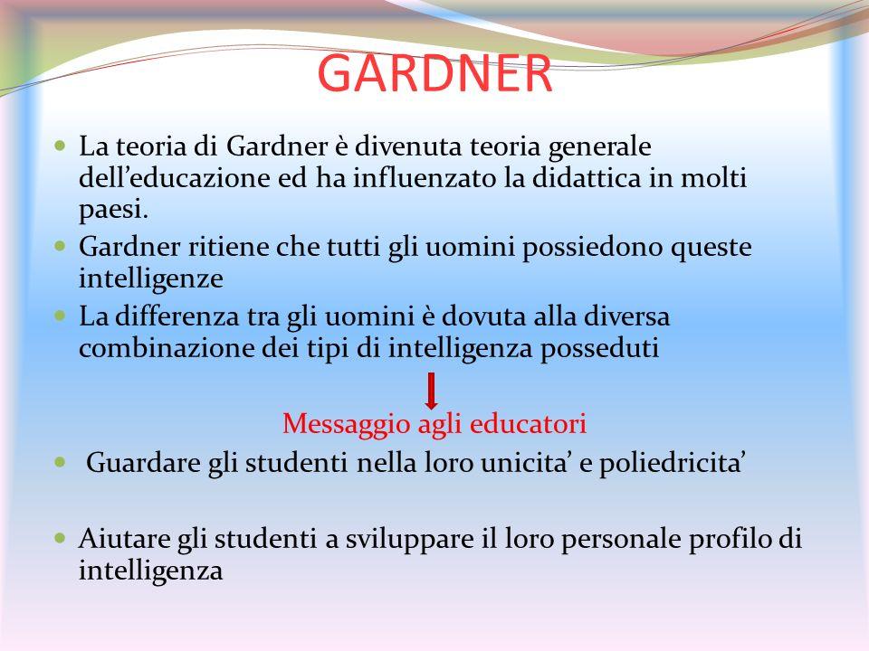 GARDNER La teoria di Gardner è divenuta teoria generale delleducazione ed ha influenzato la didattica in molti paesi. Gardner ritiene che tutti gli uo