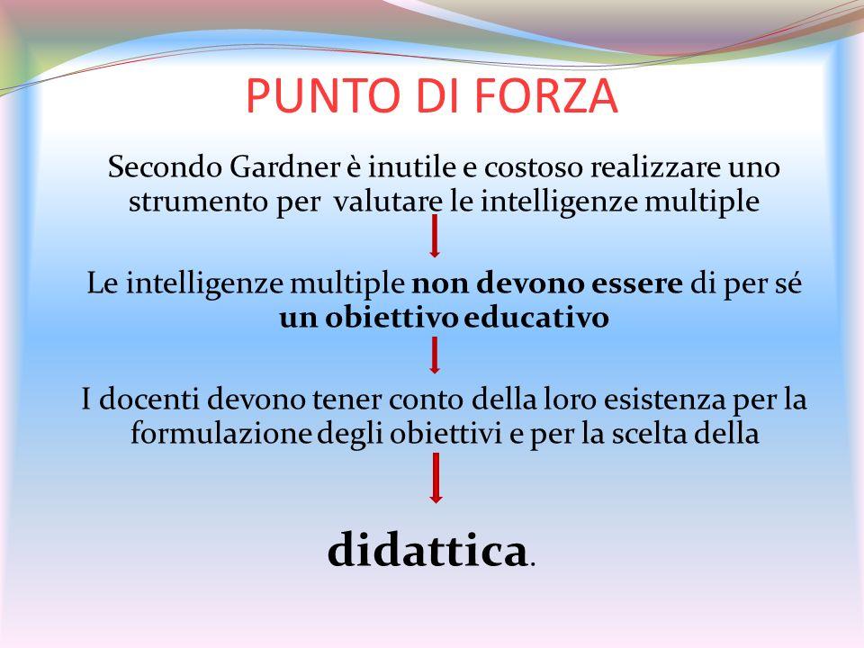 PUNTO DI FORZA Secondo Gardner è inutile e costoso realizzare uno strumento per valutare le intelligenze multiple Le intelligenze multiple non devono
