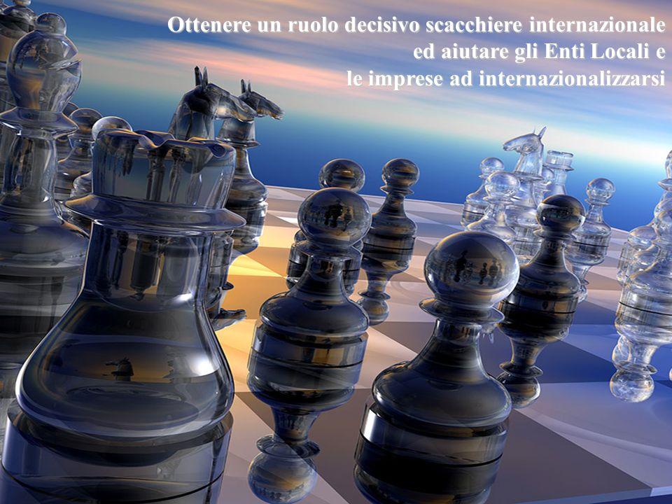 Ottenere un ruolo decisivo scacchiere internazionale ed aiutare gli Enti Locali e le imprese ad internazionalizzarsi